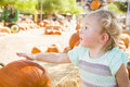 Playful baby girl having fun at the pumpkin patch adorable in a rustic ranch setting Royalty Free Stock Image