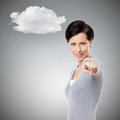 Playful girl shows imperious hand gesture isolated on grey Stock Image