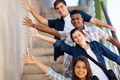 Playful group students of cheerful teenage high school Stock Image