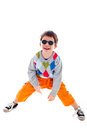 Playful kid wearing sunglasses Royalty Free Stock Image