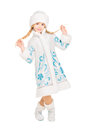 Playful little girl posing in snow maiden costume isolated on white Stock Photography