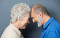 Playful loving senior couple standing facing each other with their foreheads touching smiling happily at each other Stock Photos