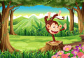 A playful monkey above the stump near the trees illustration of Royalty Free Stock Photo