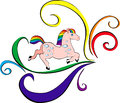 Playful rainbow horse isolated image of a with a mane and tail Royalty Free Stock Images