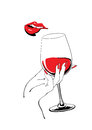 Playful red lips and glass of wine holding hand Royalty Free Stock Photo