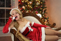 Playful Santa Girl Stock Image