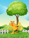 A playful tiger under the tree at the hilltop illustration of Royalty Free Stock Photo
