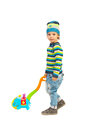 Playful toddler boy with toy Royalty Free Stock Photo