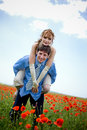 Playful wedding couple Stock Photo
