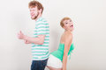Playful young couple blonde girl bearded man Royalty Free Stock Photo