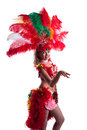 Playful young dancer in colorful festival costume close up Royalty Free Stock Photo