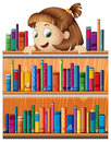A playful young girl in the library illustrayion of on white background Royalty Free Stock Photo