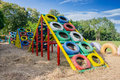 Playground built with old tires for children plays