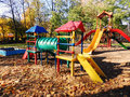 Playground childhood outdoors play park recreational in a city for entertainment Stock Images