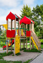 Playground for children equipment with ladder slide and footbridge Stock Photos