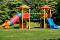 Playground for children multi carousel Stock Photo
