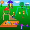Playground children playing in the sunny weather the Royalty Free Stock Photos
