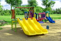 Playground a children s a slider located on the sand Royalty Free Stock Photo
