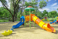 Playground a children s a slider located on the sand Stock Photography