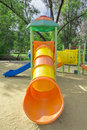 Playground a children s a slider located on the sand Royalty Free Stock Images