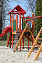 Playground children timber equipment outdoor Stock Photography
