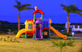 Playground colorful for childrens in the sunset focus on the x and game Royalty Free Stock Image