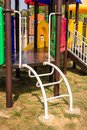 Playground detail of child s post and ladder metal parts of plastic playhouse Royalty Free Stock Photos