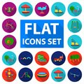 Playground, entertainment flat icons in set collection for design. Attraction and equipment vector symbol stock web