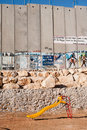 Playground and Israeli Separation Wall Stock Image
