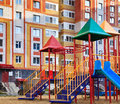 Playground near the habitable high rise Stock Photos