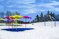 Playground place covered snow in winter time kids the park very good for activity and fun too Royalty Free Stock Photography