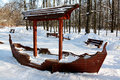 Playground ship moscow russia winter in bittsevsky park Royalty Free Stock Photos