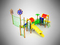 Playground slide for children red yellow 3d render on gray backg Royalty Free Stock Photo