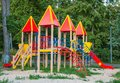 Playground with slides and climbing frame in a city park Royalty Free Stock Photography