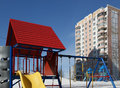 Playground snowy winters moscow russia Stock Photography