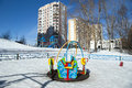 Playground snowy winters moscow russia Royalty Free Stock Images