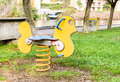 Playground spring chick see saw. Royalty Free Stock Photo