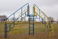 Playground structure blue and yellow steel play Stock Photos
