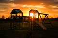 Playground and sunset Royalty Free Stock Photo