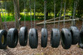 Playground tire bridge swing Royalty Free Stock Photography