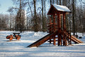Playground in winter moscow russia furniture bittsevsky park during Stock Photo