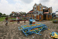 Playground the workers are building a for a night market in solo central java indonesia Royalty Free Stock Photography