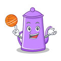 Playing basketball purple teapot character cartoon Royalty Free Stock Photo