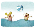 Playing with beach ball on water illustration of boy and girl Stock Image