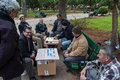 Playing board games in lebanon a group of unidentified men play one of the city parks on december beirut Royalty Free Stock Photos