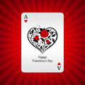 Playing card ace of hearts on background Royalty Free Stock Photo