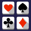 Playing card icons flat heart clubs spades and diamond Stock Photography
