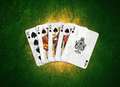 Playing card royal flush with grunge effects Royalty Free Stock Photos