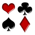 Playing card s signs four on the white background Stock Photo