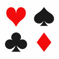 Playing card suits on white background